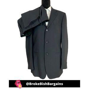 Versace Classic Navy Blue Wool/Paper Mens Suit 48R
